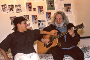 Garcia gives Mickey's son Taro a guitar lesson. Photo by Susana Millman
