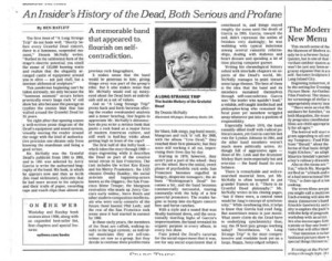 New York Times book review of A Long Strange Trip by Dennis McNally: An Insider's History of the Dead, Both Serious and Profane